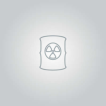 radioactive waste: Container with radioactive waste. Flat web icon or sign isolated on grey background. Collection modern trend concept design style vector illustration symbol