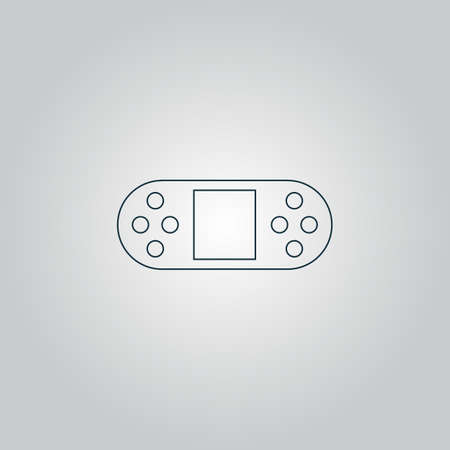 portable console: Portable Video Game Console. Flat web icon or sign isolated on grey background. Collection modern trend concept design style vector illustration symbol