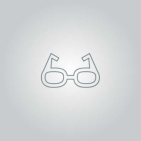 spectacle frame: Simple Glasses. Flat web icon or sign isolated on grey background. Collection modern trend concept design style vector illustration symbol