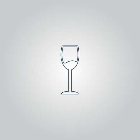 drinkware: Simple Wine glass - Alcohol drink. Flat web icon or sign isolated on grey background. Collection modern trend concept design style vector illustration symbol Illustration