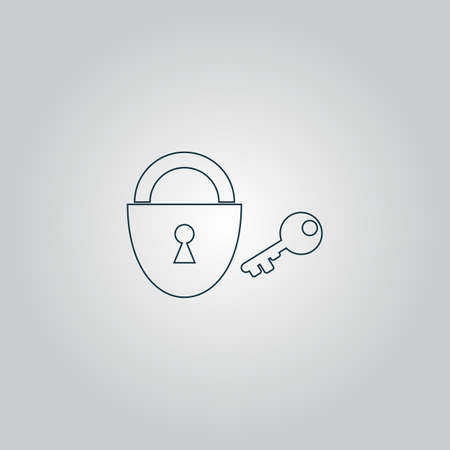 unblock: Padlock and key. Flat web icon or sign isolated on grey background. Collection modern trend concept design style vector illustration symbol Illustration
