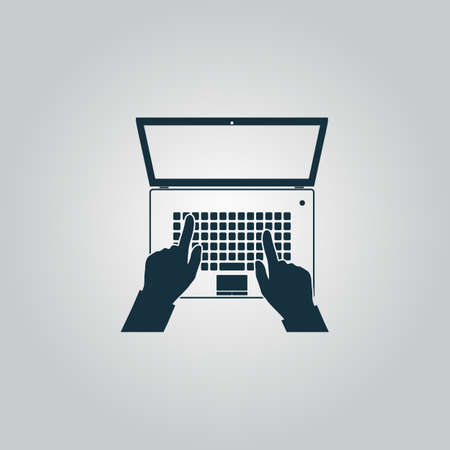 hands on keyboard: Business hands on notebook computer keyboard with open screen. Flat web icon or sign isolated on grey background. Collection modern trend concept design style vector illustration symbol