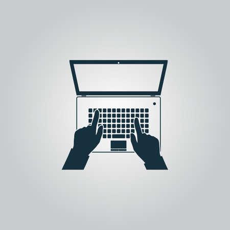 teclado: El asunto da en el cuaderno del teclado del ordenador con la pantalla abierta. Icono del Web plano o signo aislado sobre fondo gris. Colección tendencia concepto de estilo moderno diseño ilustración vectorial símbolo