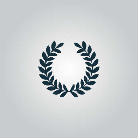 Laurel victory wreath. Flat web icon or sign isolated on grey background. Collection modern trend concept design style vector illustration symbol Stock Illustratie