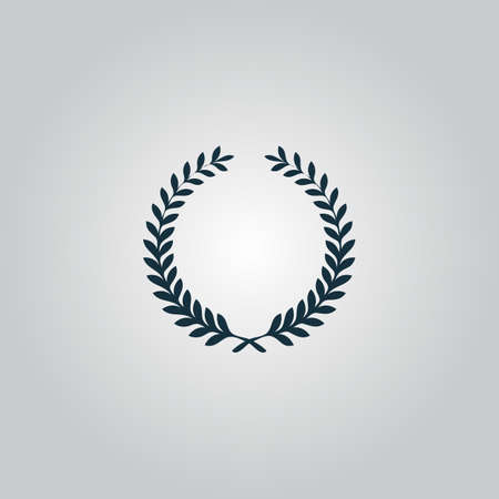 triumphant: Victory laurel wreath. Flat web icon or sign isolated on grey background. Collection modern trend concept design style vector illustration symbol Illustration