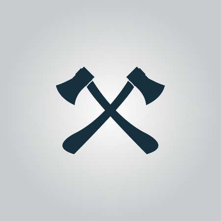 Twee assen met houten handgrepen. Platte web pictogram of teken geïsoleerd op een grijze achtergrond. Verzameling moderne trend conceptontwerp stijl vector illustratie symbool Stockfoto - 42479111