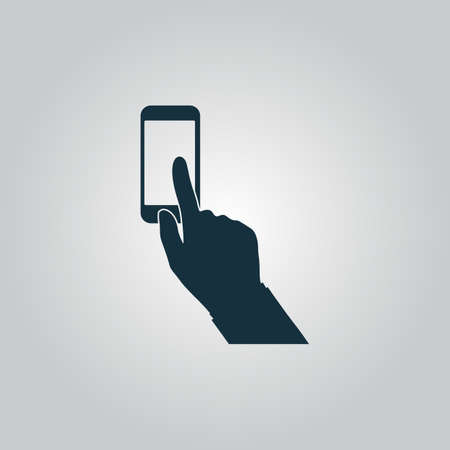 clicking: Smartphone, finger clicking. Flat web icon or sign isolated on grey background. Collection modern trend concept design style vector illustration symbol