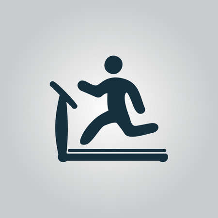 Running, treadmill. Flat web icon or sign isolated on grey background. Collection modern trend concept design style vector illustration symbol