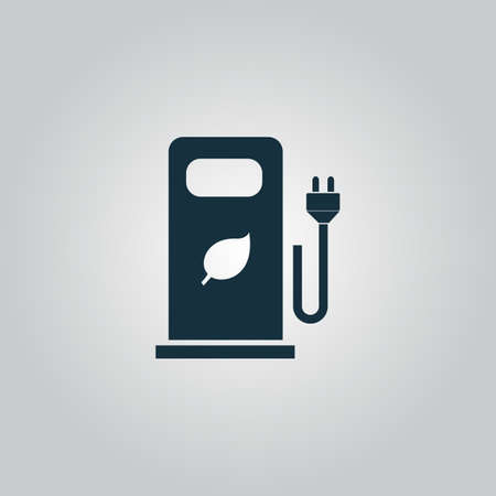 bio fuel: Electric car charging station or Bio fuel petrol. Flat web icon or sign isolated on grey background. Collection modern trend concept design style vector illustration symbol