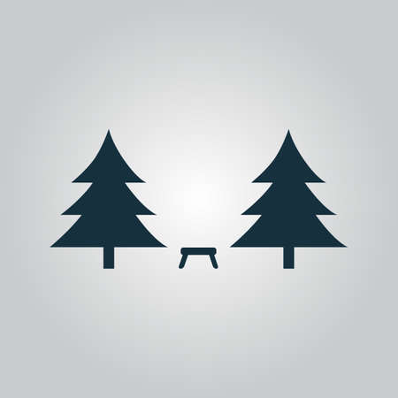 rural area: Camping among the trees. Flat web icon or sign isolated on grey background. Collection modern trend concept design style vector illustration symbol Illustration
