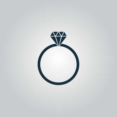 Diamanten verlovingsring. Flat web pictogram of teken geïsoleerd op een grijze achtergrond. Verzameling moderne trend conceptontwerp stijl vector illustratie symbool Stockfoto - 42479401
