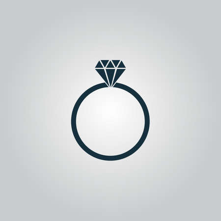 Diamond engagement ring. Flat web icon or sign isolated on grey background. Collection modern trend concept design style vector illustration symbol