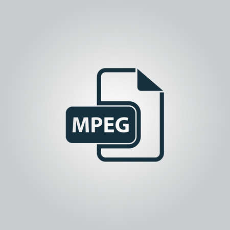 mpg: MPEG video file extension. Flat web icon or sign isolated on grey background. Collection modern trend concept design style vector illustration symbol Illustration