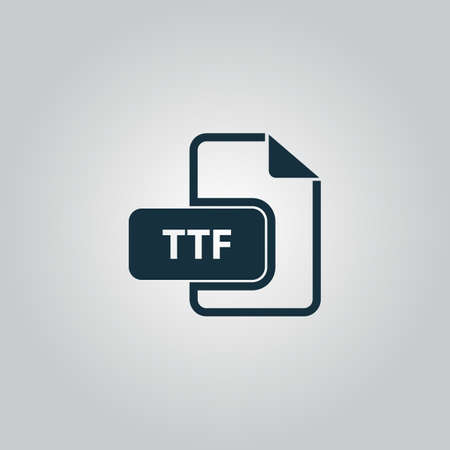 file type: TTF extension text file type. Flat web icon or sign isolated on grey background. Collection modern trend concept design style vector illustration symbol
