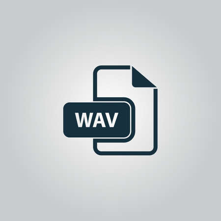 wav: WAV audio file extension. Flat web icon or sign isolated on grey background. Collection modern trend concept design style vector illustration symbol Illustration