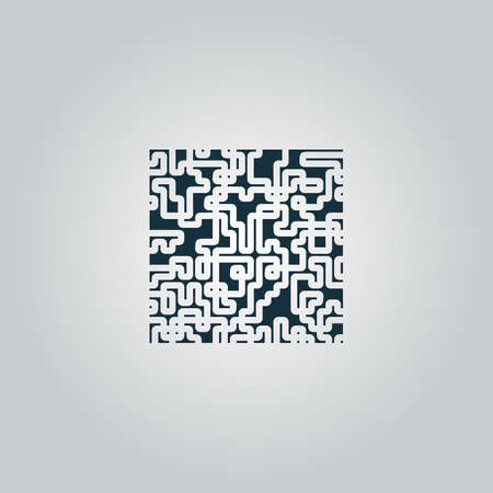 Labyrinth Puzzle rebus. Flat web icon or sign isolated on grey background. Collection modern trend concept design style vector illustration symbol Illustration