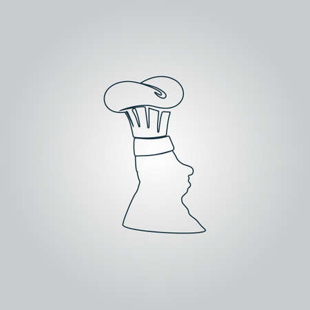 plate of food: Silhouette of chef in hat. Flat web icon, sign or button isolated on grey background. Collection modern trend concept design style vector illustration symbol