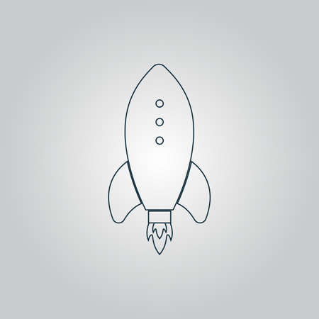 engine flame: Rocket. Flat web icon, sign or button isolated on grey background. Collection modern trend concept design style vector illustration symbol