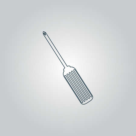 turnscrew: Pocket phillips screwdriver. Flat web icon, sign or button isolated on grey background. Collection modern trend concept design style vector illustration symbol Illustration