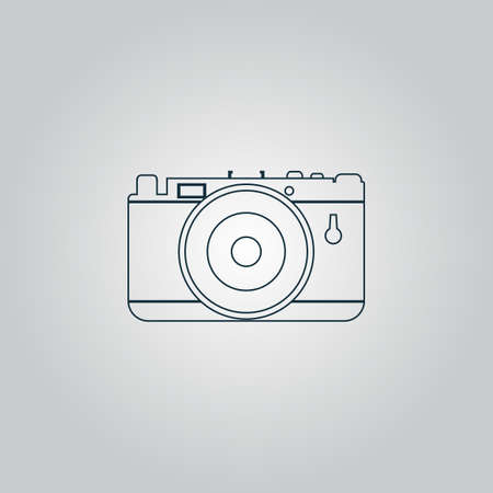 Photo Camera Flat Web Icon Sign Or Button Isolated On Grey