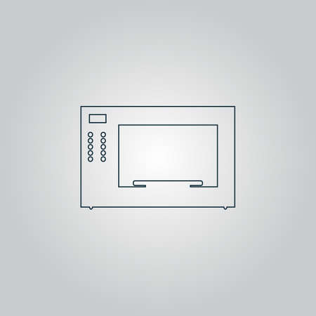 microwave oven: Microwave oven. Flat web icon, sign or button isolated on grey background. Collection modern trend concept design style vector illustration symbol Illustration