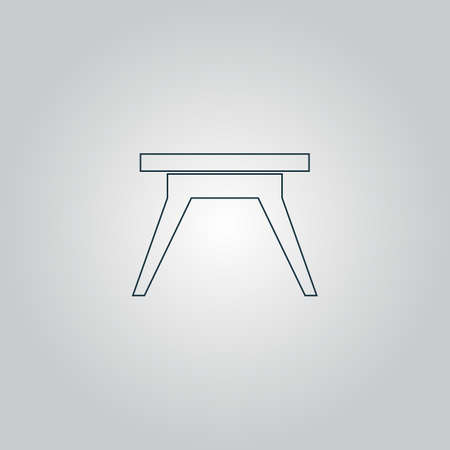 stowing: Small table. Flat web icon, sign or button isolated on grey background. Collection modern trend concept design style vector illustration symbol