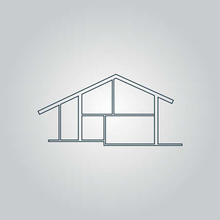 flat roof: Modern house. Flat web icon, sign or button isolated on grey background. Collection modern trend concept design style vector illustration symbol