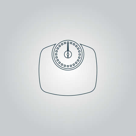 bathroom weight scale: Bathroom scale. Flat web icon, sign or button isolated on grey background. Collection modern trend concept design style vector illustration symbol