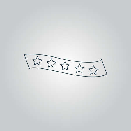 bestseller: Recommended bestseller star ribbon. Flat web icon, sign or button isolated on grey background. Collection modern trend concept design style vector illustration symbol