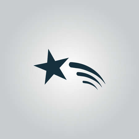 sky stars: Shooting star. Flat web icon or sign isolated on grey background. Collection modern trend concept design style vector illustration symbol Illustration