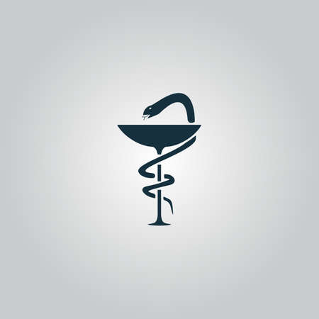 designate: Pharmacy with caduceus, bowl with a snake. Flat web icon or sign isolated on grey background. Collection modern trend concept design style vector illustration symbol Illustration