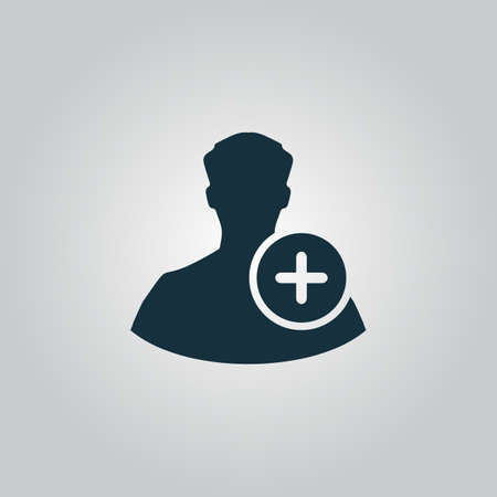userpic: User profile web with plus glyph. Flat web icon or sign isolated on grey background. Collection modern trend concept design style vector illustration symbol