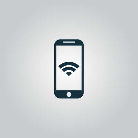 Wi fi on your smartphone. Flat web icon or sign isolated on grey background. Collection modern trend concept design style vector illustration symbol