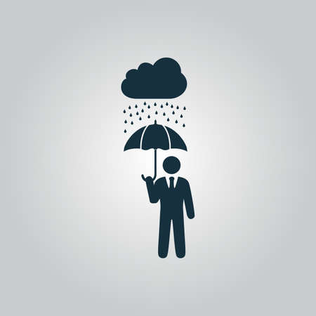 Businessman with umbrella protect from rain. Flat web icon or sign isolated on grey background. Collection modern trend concept design style vector illustration symbol