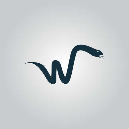 slither: Snake. Flat web icon or sign isolated on grey background. Collection modern trend concept design style vector illustration symbol