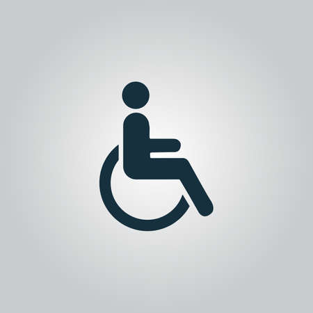 disabled access: Disabled. Flat web icon or sign isolated on grey background. Collection modern trend concept design style vector illustration symbol Illustration