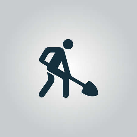 hombre con sombrero: Sitio de construcci�n. Icono del Web plano o signo aislado sobre fondo gris. Colecci�n tendencia concepto de estilo moderno dise�o ilustraci�n vectorial s�mbolo