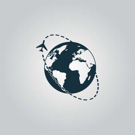 world icon: Air travel destination. Flat web icon or sign isolated on grey background. Collection modern trend concept design style vector illustration symbol