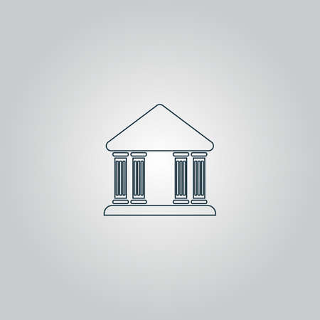 governmental: edificio de la corte. Web icono plano o signo aislado sobre fondo gris.