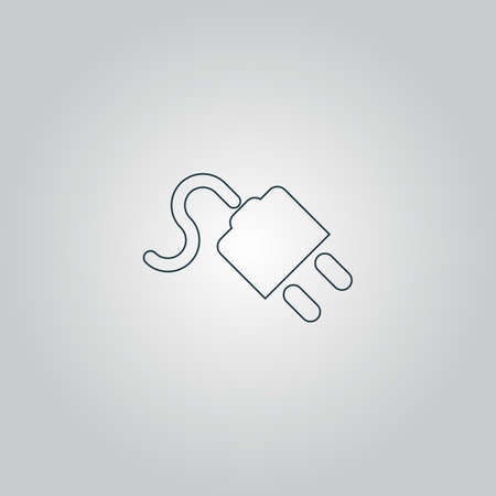 power cord: power cord. Flat web icon or sign isolated on grey background. Collection modern trend concept design style vector illustration symbol Illustration