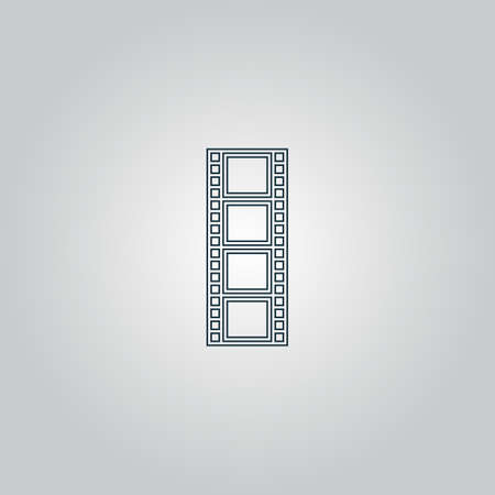 cinematographic: cinematographic film. Flat web icon or sign isolated on grey background.