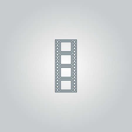 cinematografico: pel�cula cinematogr�fica. Web icono plano o signo aislado sobre fondo gris. Vectores