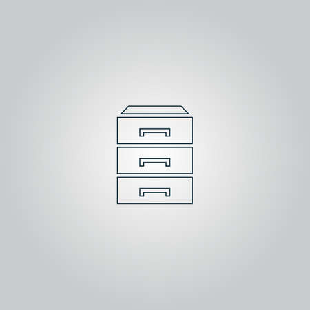 drawers: chest of drawers. Flat web icon or sign isolated on grey background.
