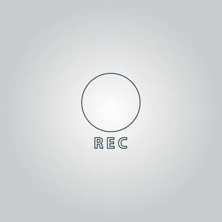 rec: Rec button. Flat web icon or sign isolated on grey background.