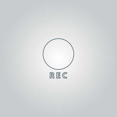 rec: Rec. Web icona piatto o segno isolato su sfondo grigio.