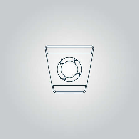 garbage tank: Recycle bin. Flat web icon or sign isolated on grey background.