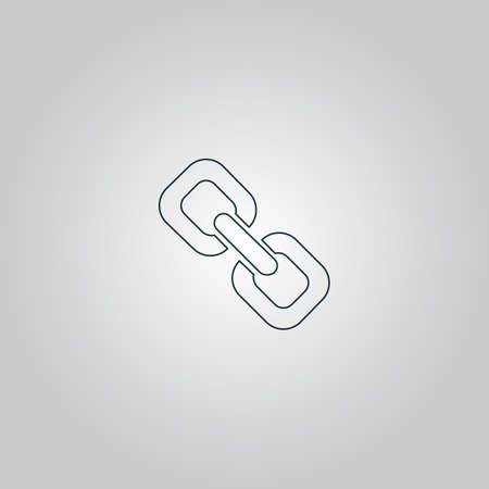 pressure linked: Link. Flat web icon or sign isolated on grey background.