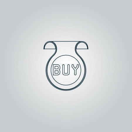 price uncertainty: Bookmark with Buy message. Flat web icon or sign isolated on grey background.