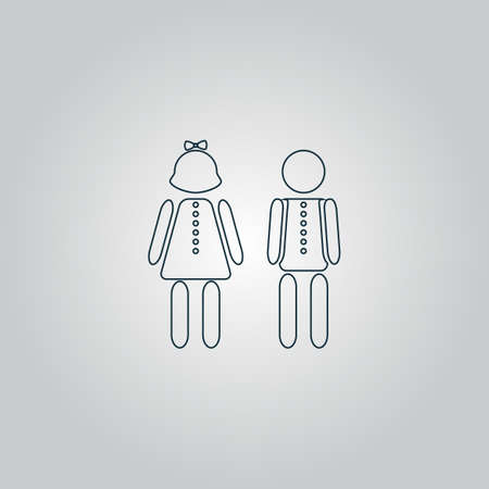 simple girl: Simple Boy and Girl. Flat web icon or sign isolated on grey background.