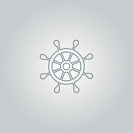 schooner: Simple rudder. Flat web icon or sign isolated on grey background.   Illustration